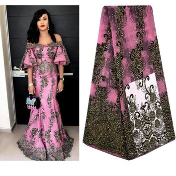 African Lace Fabric 2018 Embroidered French Laces Fabric High Quality French Tulle Lace Fabric For Wedding Party Dress A697