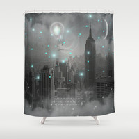 Imagination Takes You Everywhere - B&W (City Lights Series) Shower Curtain by soaring anchor designs ⚓ | Society6