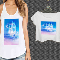 Castle of Disney Princess 2 For Woman Tank Top , Man Tank Top / Crop Shirt, Sexy Shirt,Cropped Shirt,Crop Tshirt Women,Crop Shirt Women S, M, L, XL, 2XL**