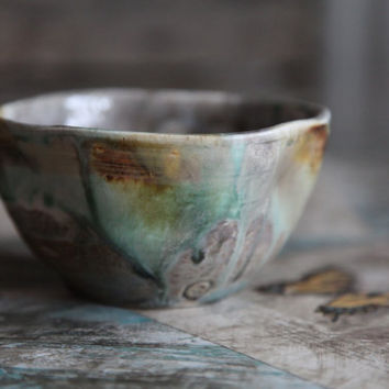 rustic earthy small pottery bowl by TierraSky on Etsy