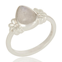 925 Sterling Silver Natural Rainbow Moonstone Fine Gemstone Ring