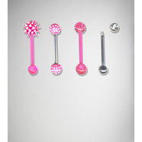 14 Gauge Pink and Silver Spike Barbell 4 Pk