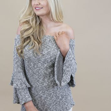 Devin Off The Shoulder Top, Heather Grey