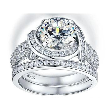 A Flawless 2CT Round Cut Belgium Lab Diamond Bridal Set