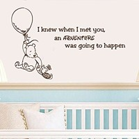 Quote Wall Decal Vinyl Sticker Decals Quotes Winnie the Pooh Quote I knew when I met you an Adventure was Going to Happen Nursery Decor Baby Room Wall Decal ZX207