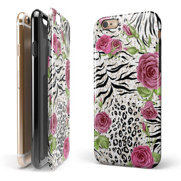 Animal Vibe Floral iPhone 6/6s or 6/6s Plus 2-Piece Hybrid INK-Fuzed Case