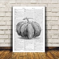 Pumpkin poster Kitchen decor Antique art Retro print RTA129