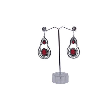 Antique Silver Created Red Fire Opal Teardrop Earrings with Secure Wire and Hook Backs
