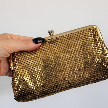 Vintage 1940s Gold Mesh Clutch Purse by Whiting And Davis