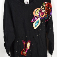 80s Sequin Sweater Oversize Small Medium Rainbow Bead Black Vintage Womens Clothing Jumper 1980s 1990s Vibrant Jewel Tone Butterfly Abstract