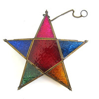 vintage red stained lead glass STAR hanging lantern / leaded glass candle holder