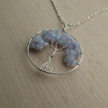 Wire Pendant - Blue Lace Agate Tree of Life Silver Wire-Wrapped Pendant