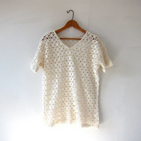 vintage cream white open knit top. cut out mesh shirt. tshirt with holes. minimalist sheer net shirt.