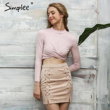 Simplee Sexy cross long sleeve crop top Women 2016 autumn chic black fold short top tees Winter slim party white blouse shirt