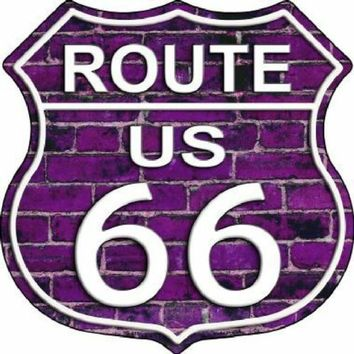 Purple Brick Route 66 Highway Shield Sign  11 inch  die cut  sign