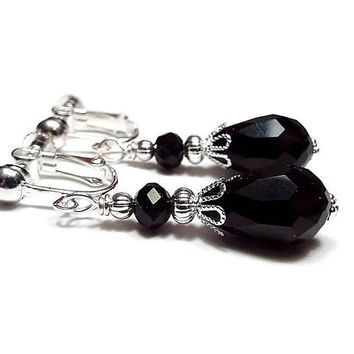 Black Teardrop Clip on Earrings Silver Plated Screw Back Vintage Style Goth Jewelry