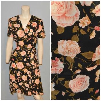 Vintage 1990's Floral Wrap Dress Black and Pink Flower Pattern Print Short Knee Length Short Sleeve V-Neck Dress Liz Claiborne Size 4