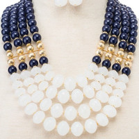 Multi Strand Beaded Statement Necklace SET