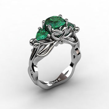 Nature Fairy 14K White Gold 1.0 Ct Round and Heart Emerald Three Stone Engagement Ring R1082-14KWGEM