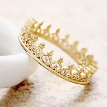 Dainty Crystal Crown Ring