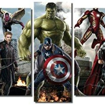 "Picture Sensations Framed Canvas Art Print, Marvel Avengers Age of ultron Super Hero, Captain America, Iron Man, Hulk, Thor, Black Widow, Hawkey - 60""x32"""