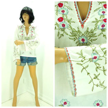 Boho embroidered tunic top size M, Indie embroidered caftan top, bohemian white cotton kaftan blouse, SunnyBohoVintage