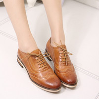 women's flats shoes genuine leather lace-up wax skin female bullock shoes lady flats oxford shoes for women casual shoes A068-1