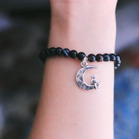 Kitty on the Moon Marble Bracelet