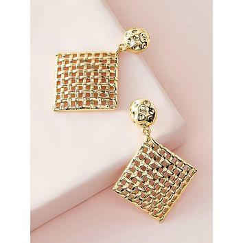 1pair Hollow Out Rhombus Drop Earrings