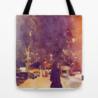 Snowy Night Tote Bag by Elyse Notarianni