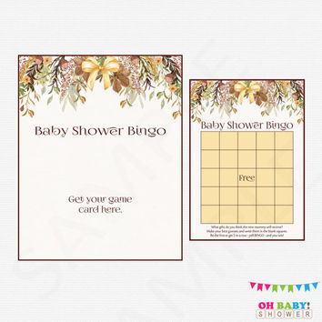 Fall Baby Shower Bingo Game, Printable Baby Shower Games, Girl Boy Baby Shower, Autumn Baby Shower Floral Watercolor, Instant Download FF01