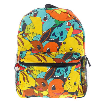 Pokemon Canvas Backpack - School Bag - All Over Print