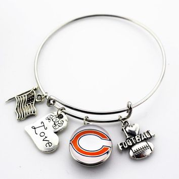 10pcs/lot America Football Sport Snap Buttons Bracelets Chicago Bears Adjustable Arrow Bracelet Bangles Jewelry Charms