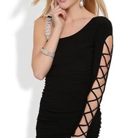 One Shoulder Bodycon Dress with Lattice Sleeve and Stone Strap