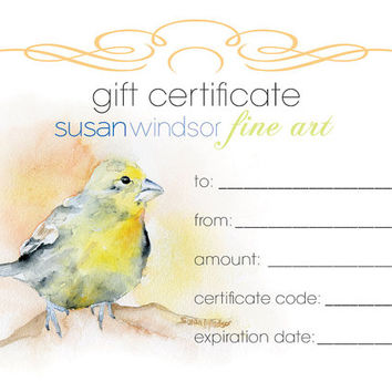 Gift Certificate for SusanWindsor.etsy.com - Gift Card - Watercolor Painting - Art - Gift