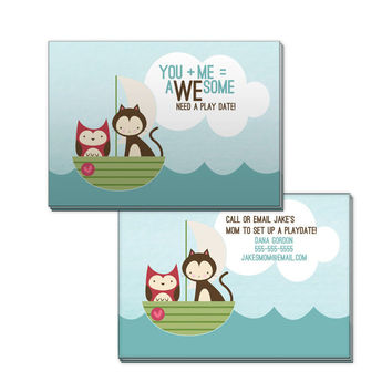 Owl & Cat Personalized Playdate Calling Cards - Set of 20 -