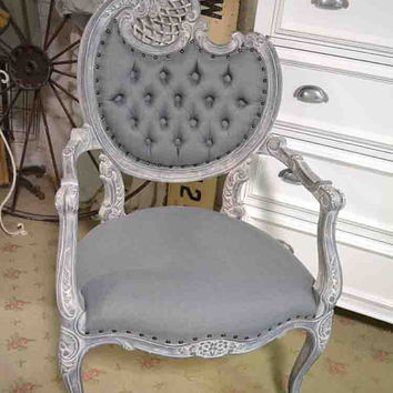 Painted Cottage Chic Shabby French Upholstered Tufted Arm Chair