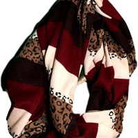 Maroon Striped Cheetah Scarf
