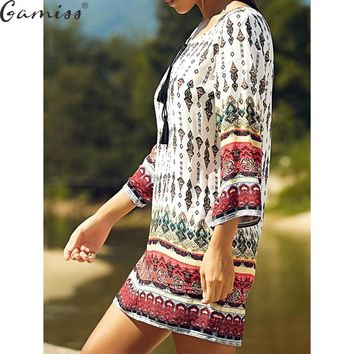 Gamiss Sexy Mini Print Dress Vintage Women 2017 Ladies Round Collar Long Sleeve Floral Casual Straight Ethnic Short Veatidos