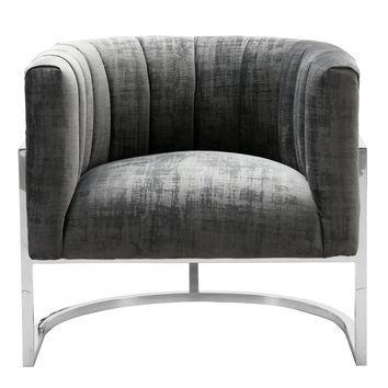 Magnolia  Slub Grey Chair with Silver Base