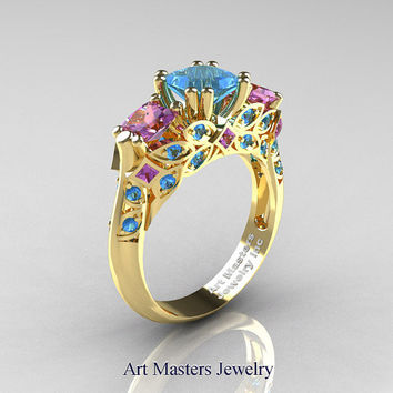 Classic 18K Yellow Gold Three Stone Princess Blue Topaz Amethyst Solitaire Engagement Ring R500-18KYGAMBT