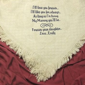 Mother of the Bride Gift Embroidered Cotton Throw Personalized