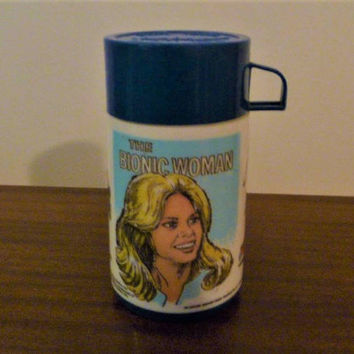 "Vintage 1980s ""The Bionic Woman"" Thermos made by Aladdin Industries - Universal City Studios Inc / Retro Super Hero Thermos / 500ml"
