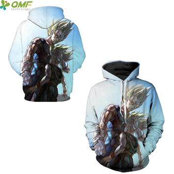 Majin Vegeta Trunks Digital Print Skateboarding Hoodies Sports Sweatshirt Cosplay Dragon Ball Z Vegeta Super Saiyan Men Hoody