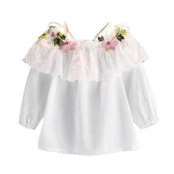 Children's T-shirts 2017 Autumn Children Clothing White Blouse For Girls Sling Lace Flower Embroidery Baby Girl Blouses Shirt