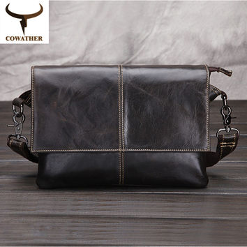 COWATHER Envelope package 2017 cow genuine leather messenger bags for men handbags huge capacity male's best  free shipping