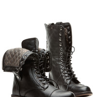 Black Faux Leather Quilted Fold Over Combat Boots