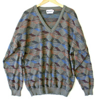 Multicolored V-Neck Cosby / Golf Sweater - The Ugly Sweater Shop