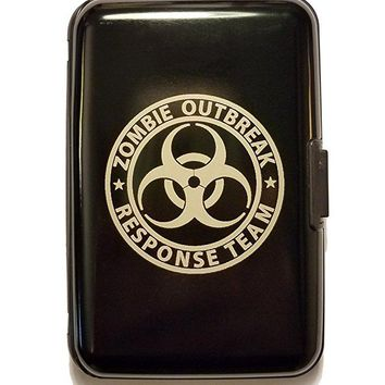 Zombie Outbreak Response Team Hazard Sign - Black Aluminum Hard Credit Card Wallet