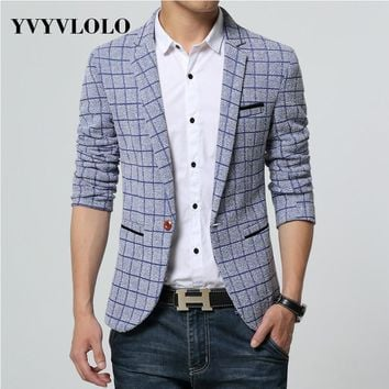 Plaid Blazer Men Costume Homme Coat Blazer Masculino Brand Clothing Fashion Men Blazer Dress Suit Jacket Jaqueta